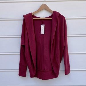 It's our time ruby wine open hooded soft cardigan